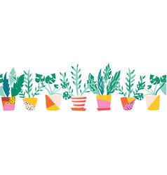 seamless border colorful plant pots vector image