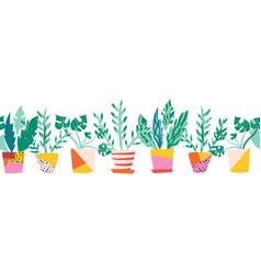 Seamless border colorful plant pots vector