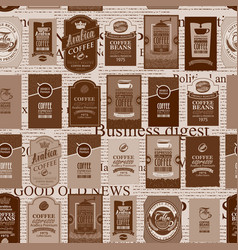 Seamless pattern with coffee labels and newspaper vector