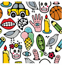 seamless pattern with funny drawings art vector image