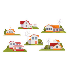 set country houses on a white background vector image