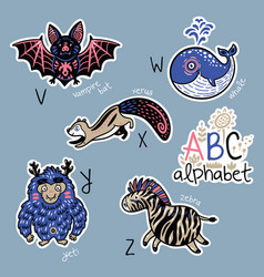 set cute patch badges with animals alphabet v vector image