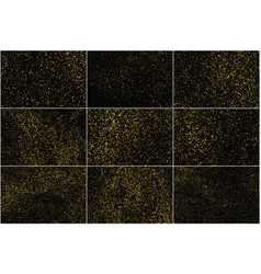 set gold glitter texture isolated on black vector image