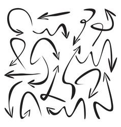 Set of black drawing arrows vector