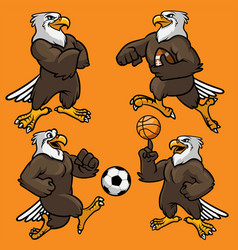 Set of eagle sport mascot vector