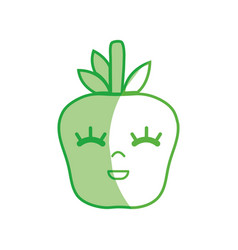 Silhouette kawaii cute happy apple fruit vector