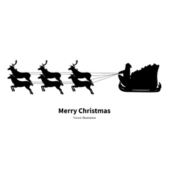 silhouette of Santa Claus in sleigh vector image