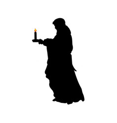 silhouette praying man with candle vector image