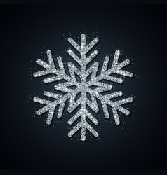 silver glitter snowflake year vector image