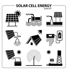 solar cell energy icon set vector image