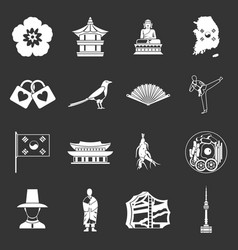 South korea icons set grey vector