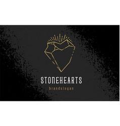 Stone heart logo template vector