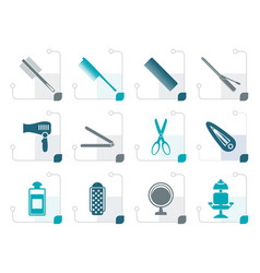 Stylized hairdressing coiffure and make-up icons vector