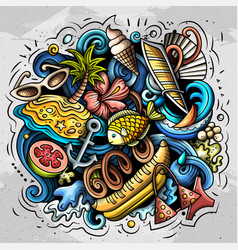 summer beach doodles vector image