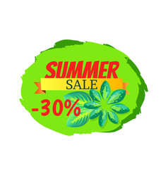 summer sale with 30 off promo tropical banner vector image