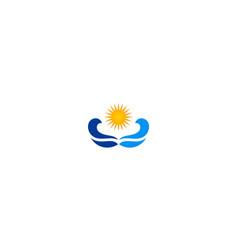 sun shine ocean wave logo vector image