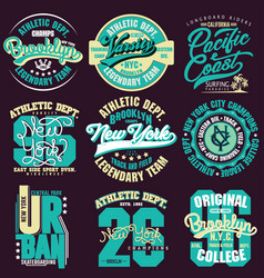 T-shirt stamp graphic set sport wear typography vector