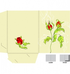 template for folder with roses vector image