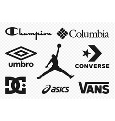 Top clothing brands logos set most popular vector