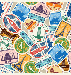 Travel pattern immigration stamps stickers with vector