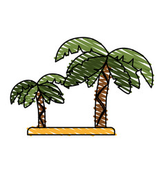 Tropical island with palm trees icon image vector