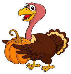 Turkey cartoon with pumpkin vector image vector image