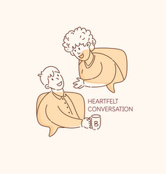 two friends have a conversation when they meet vector image