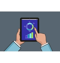 Two hands holding tablet with business diagram and vector