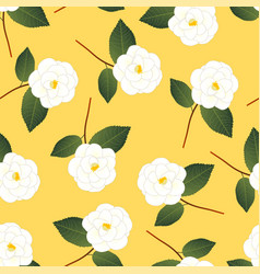 white camellia flower on yellow background vector image