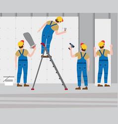 workers put plaster on a stepladder installing vector image