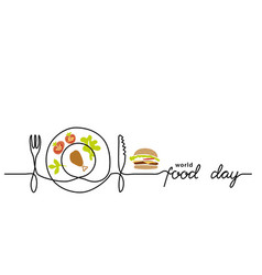 world food day simple line border web banner vector image