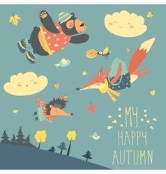 Cute animals and autumn leaves flying in the sky vector image vector image
