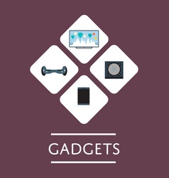 gadgets store icon set in flat design vector image vector image