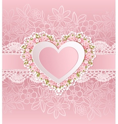 Greeting card with heart shape and flowers vector image vector image