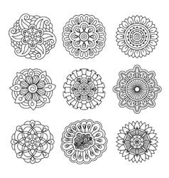 Linear doodle flower set vector image