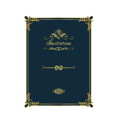 vintage golden invitation on blue background vector image