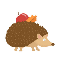 cute hedgehog with apple and leaf on thorns icon vector image vector image