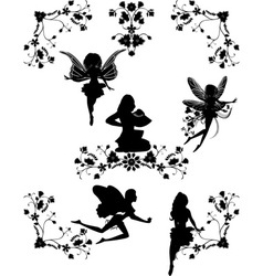 five fairys and floral corners vector image vector image