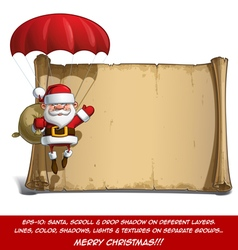 Happy Santa Scroll Parachute Sack of Gifts vector image vector image