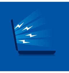 Laptop emitting energy stock vector image
