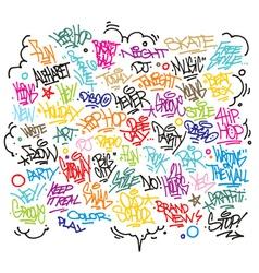 Multiple urban art and graffiti tags slogans vector image vector image