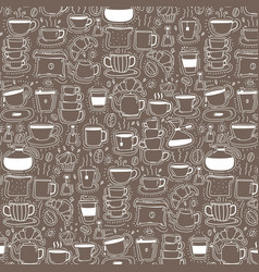 pattern with line hand drawn doodle coffee vector image vector image