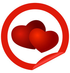 round sticker with hearts vector image vector image