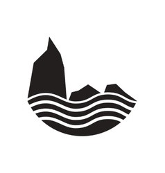 Flat icon in black and white rocks and sea vector
