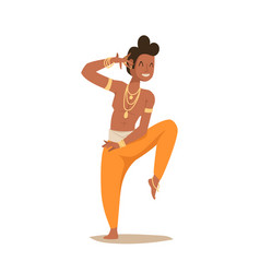 Indian man dancing isolated dancers vector