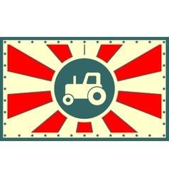 sun rays backdrop with tractor icon vector image vector image
