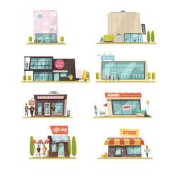 supermarket building set vector image