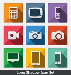 Digital Long Shadow Icons vector image