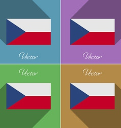 Flags Czech Republic Set of colors flat design and vector image vector image