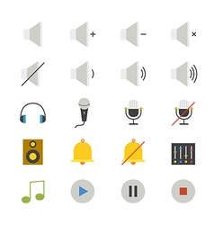 Music and media flat icons color vector